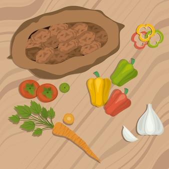 Veganistisch ontwerp op houten achtergrond