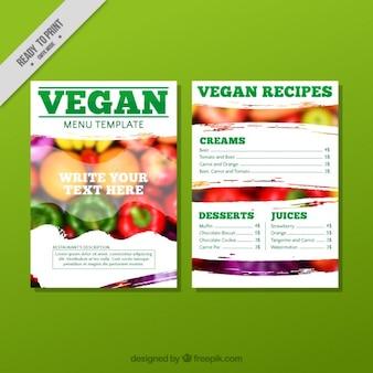 Veganistisch restaurant menu met een foto