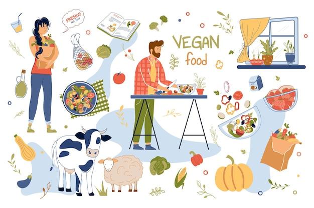 Veganistisch voedselconcept geïsoleerde elementen set