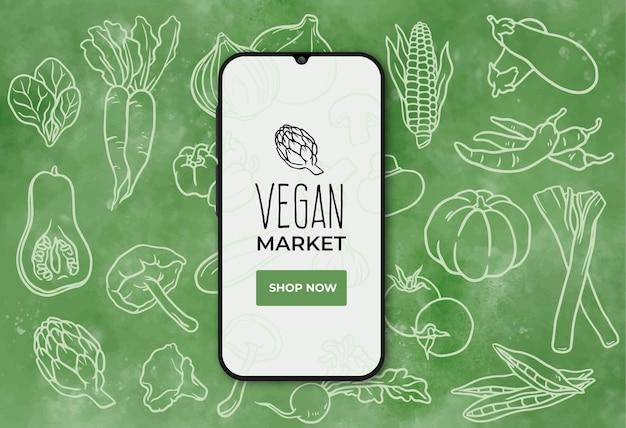 Veganistisch voedselmarktbanner met smarthphone
