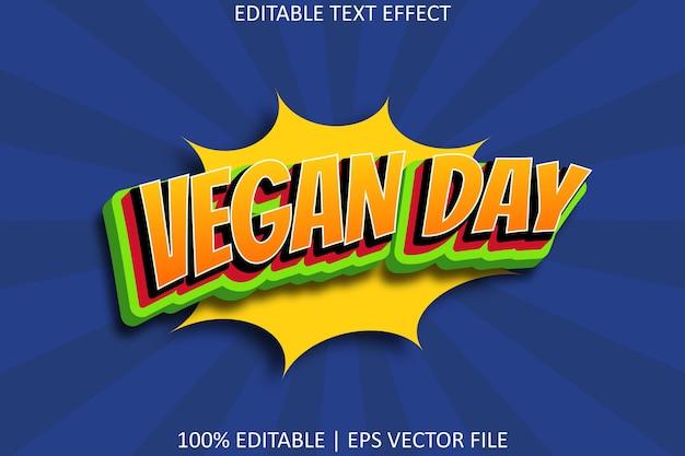 Veganistische dag komische stijl bewerkbaar teksteffect