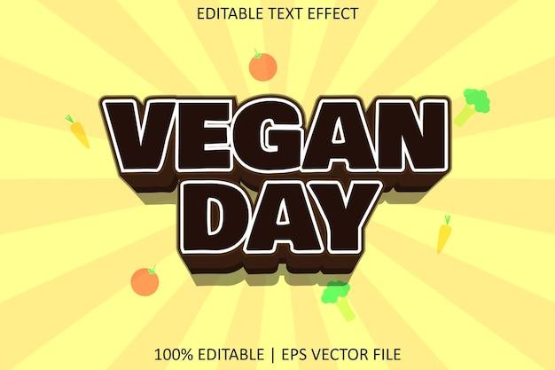 Veganistische dag met bewerkbaar teksteffect in moderne stijl