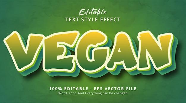 Veganistische tekst op saladekleurstijleffect, bewerkbaar teksteffect