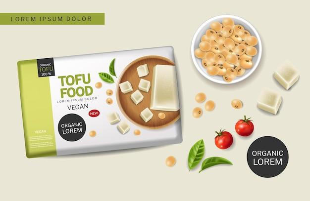 Veganistische tofu-kaasvector realistisch. sojabonen en kerstomaatjes 3d gedetailleerde illustraties