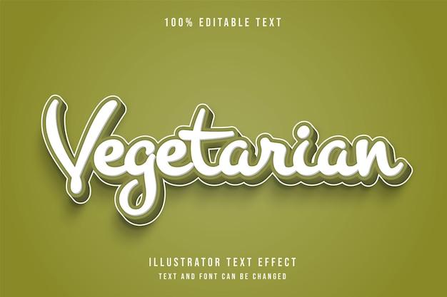 Vegetarisch, 3d bewerkbaar teksteffect groene gradatie komische stijl