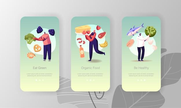 Vegetarisch dieet mobiele app-pagina schermsjabloon aan boord.