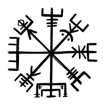 Vegetarisch. grafische illustratie vikingkompas