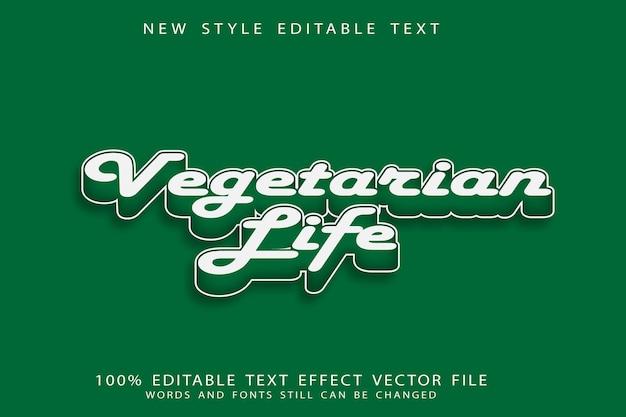Vegetarisch leven bewerkbaar teksteffect reliëf moderne stijl