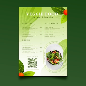 Vegetarisch menu met kleurovergang
