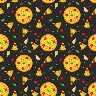 Vegetarisch pizza naadloos patroon met plakjes en ingrediënten.