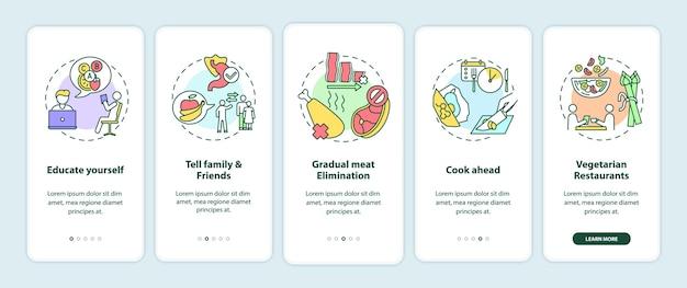 Vegetarisch worden tips onboarding mobiele app-paginascherm met concepten
