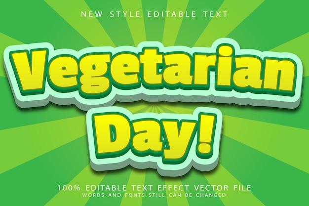Vegetarische dag bewerkbaar teksteffect reliëf moderne stijl