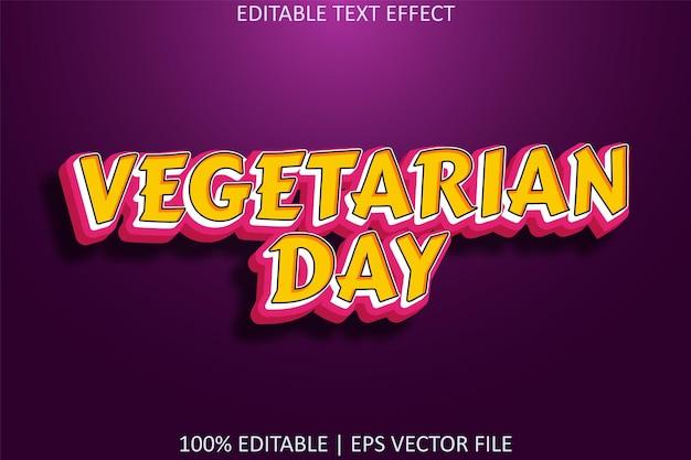 Vegetarische dag met bewerkbaar teksteffect in cartoonstijl