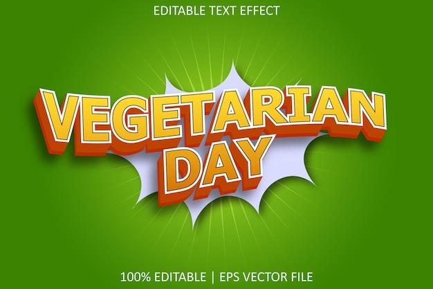 Vegetarische dag met bewerkbaar teksteffect in komische stijl