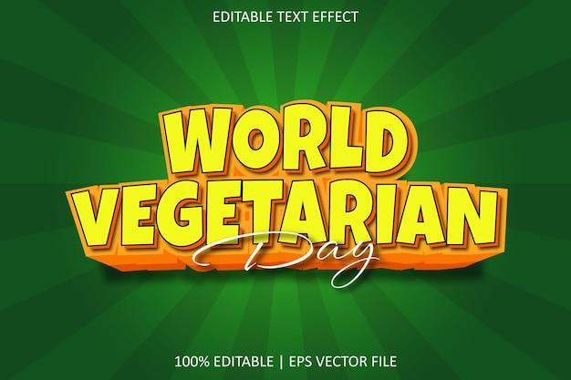 Vegetarische dag met bewerkbaar teksteffect in moderne stijl