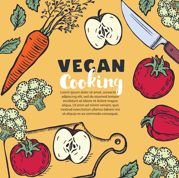 Vegetarische en veganistische receptenbanner met keukengerei, gebruiksvoorwerpen en gehakte groenten, copyspace in het midden