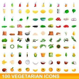 Vegetarische iconen set, cartoon stijl