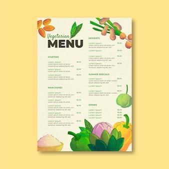 Vegetarische menusjabloon in aquarelstijl