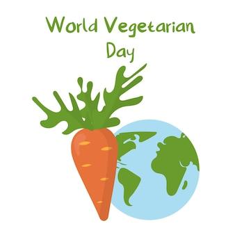 Vegetarisme concept wortel en planeet illustratie