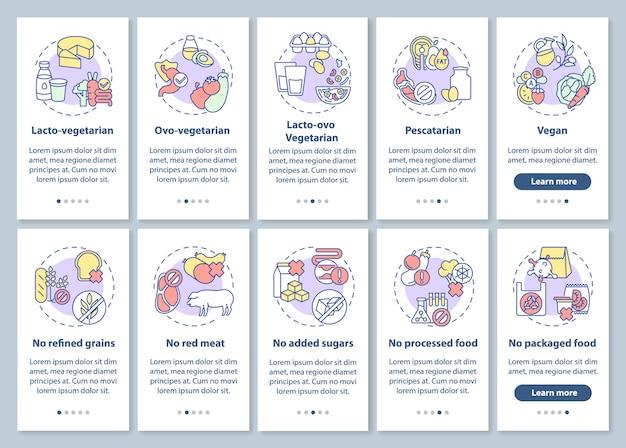 Vegeterian lifestyle onboarding mobiele app paginascherm met concepten ingesteld