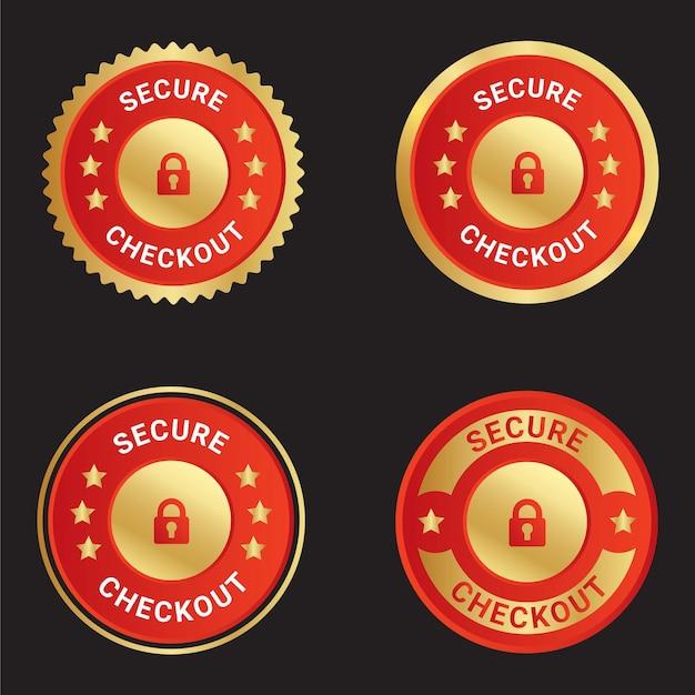 Veilig afrekenen vector vertrouwen badge logo