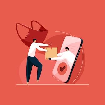 Veilig en express leveringsconcept bezorgservice met masker rembours onder rembours