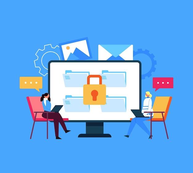 Veilig online gegevensoverdracht informatiebericht vergrendeld concept.