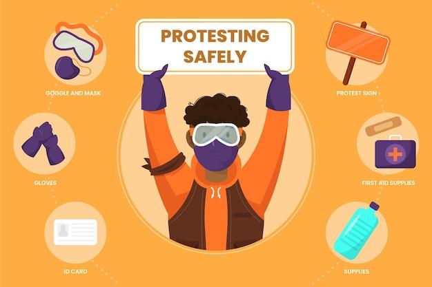 Veilig protesteren infographic sjabloon