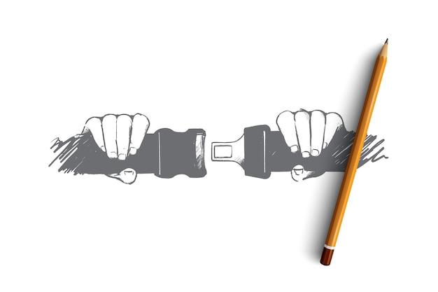 Veilig rijden concept. hand getrokken persoon veiligheidsgordel in auto vastmaken. bescherming van passagiers in auto geïsoleerde illustratie.