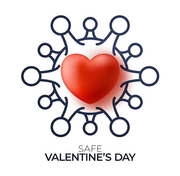 Veilig valentijnsdag concept. rood valentijnskaart liefdehart en overzicht biohazardgevaar in quarantaine.