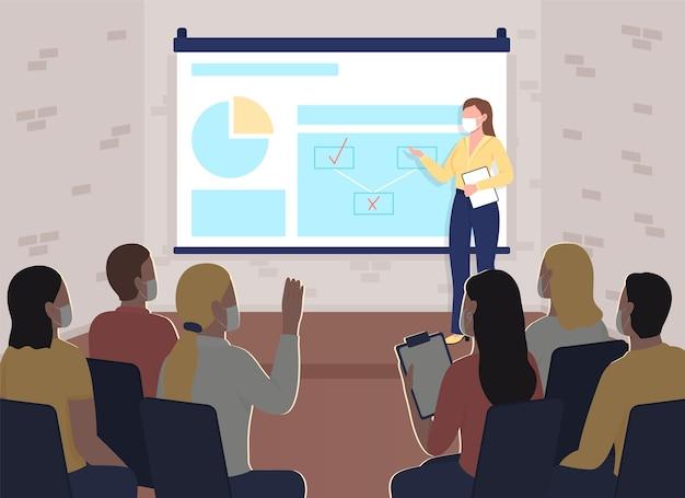 Veilig zakelijk evenement tijdens pandemische egale kleur vectorillustratie. professionele opleiding in marketing. ondernemers in gezichtsmaskers 2d stripfiguren met kantoor interieur op achtergrond