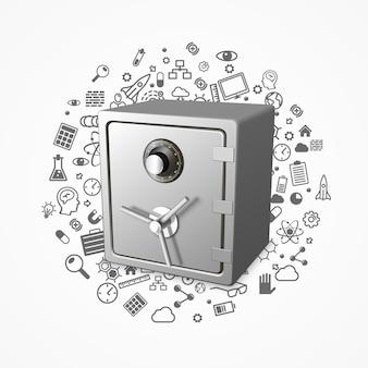 Veilige 3d-vergrendelingsbeveiligingstechnologie veel pictogrammen, vectorillustratie
