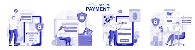 Veilige betaling geïsoleerde set in plat ontwerp mensen maken veilige financiële transacties online bankieren