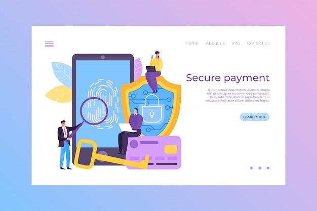 Veilige betaling in mobiele bank, landing illustratie. veiligheidsgegevens in toepassing, betalen met vingerafdruktechnologie, beveiliging