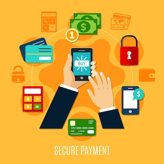 Veilige betaling ronde samenstelling
