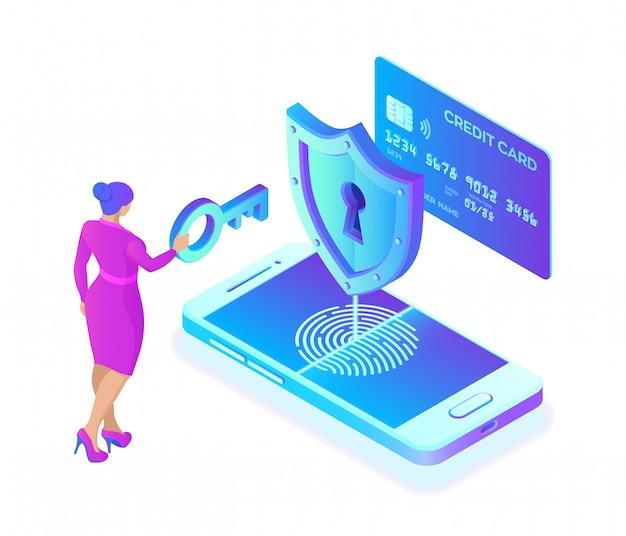 Veilige betalingen. isometrische bescherming van persoonsgegevens concept. creditcardcontrole en softwaretoegangsgegevens als vertrouwelijk.