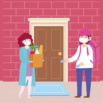Veilige bezorging thuis tijdens coronavirus covid-19, koerier man met masker en vrouw klant met boodschappentas
