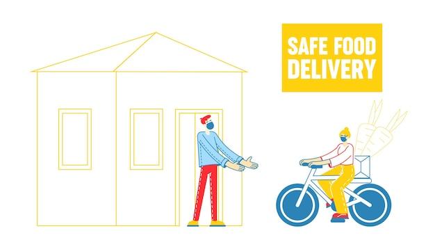 Veilige bezorging van voedsel door restaurants en supermarkten voor coronavirus en quarantaine