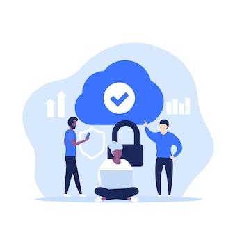 Veilige cloudtoegang, hosting of saas vectorillustratie met mensen