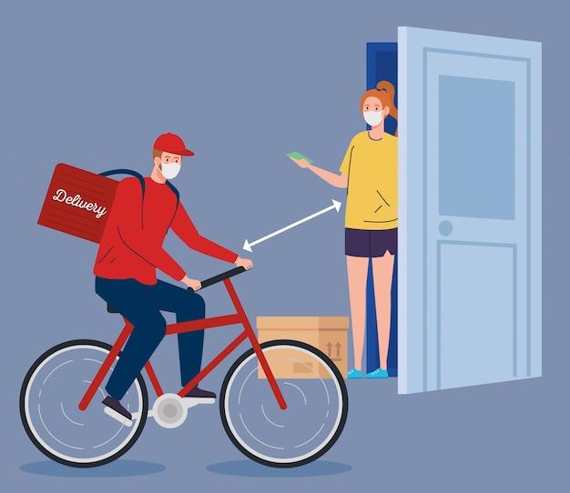 Veilige contactloze bezorger naar huis door covid 19 illustratieontwerp
