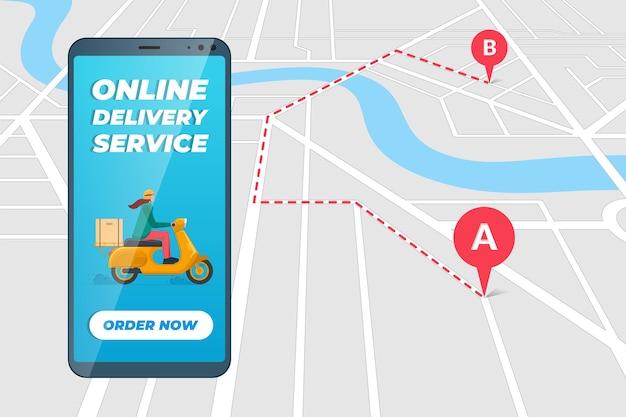Veilige contactloze bezorgservice-app op smartphonescherm met vrouwenkoerier in bromfietshelm op motorscooter die pakketdoos levert. online bestelroute mobiele applicatie op stadsplattegrond. eps