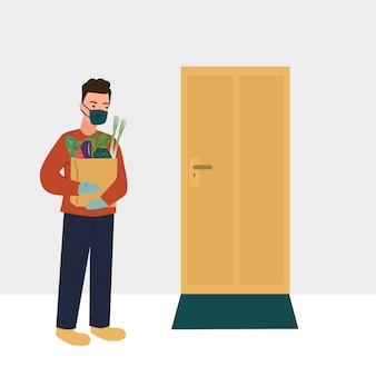Veilige contactloze levering aan huis koerier met boodschappen tas bij de deur coronavirus covid 19 uitbraak