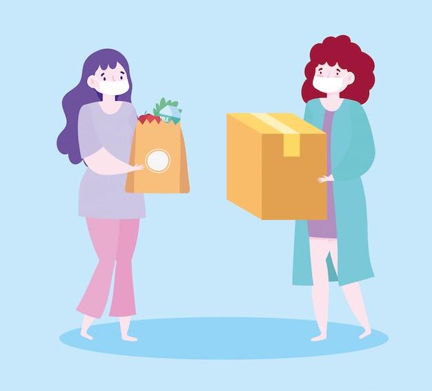Veilige levering thuis tijdens coronavirus covid-19, klantvrouwen met maskers en boodschappentas en doos