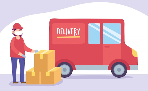 Veilige levering thuis tijdens coronavirus covid-19, koeriersman met masker met dozen en vrachtwagenvervoer