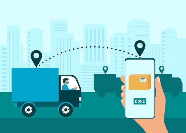 Veilige levering van goederen aan koper. koerier afgeleverd pakket op bestemming. man met kartonnen dozen in rubberen handschoenen. online winkelen en koeriersdiensten. illustratie