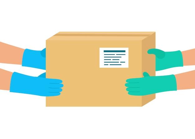 Veilige levering van goederen aan koper. koerier afgeleverd pakket op bestemming.