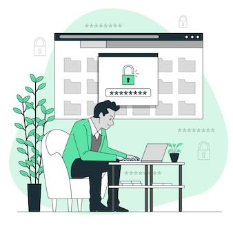 Veilige login concept illustratie
