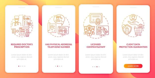 Veilige online apotheek ondertekent onboarding mobiele app-paginascherm met concepten. doorlooptijd van een gelicentieerd bedrijf 5 stappen. ui-sjabloon met rgb-kleurenillustraties