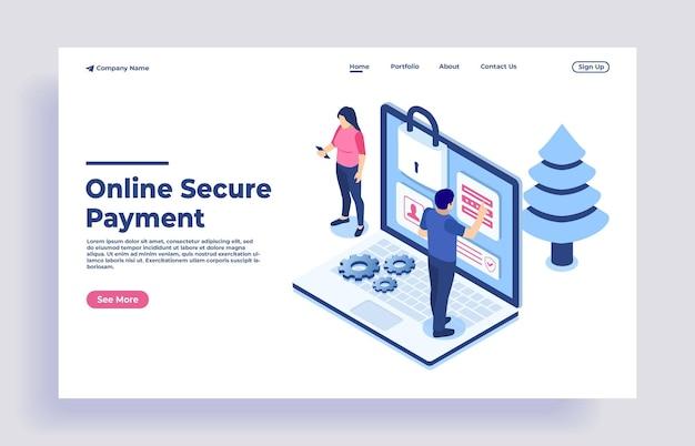 Veilige online betaling voor e-commerce met geldoverdracht via internet isometrisch concept