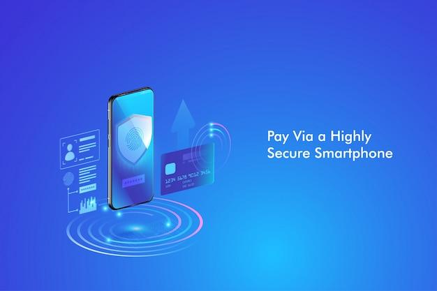 Veilige online betalingstransactie met smartphone. internetbankieren via creditcard op mobiel. bescherming winkelen via draadloos betalen via smartphone.